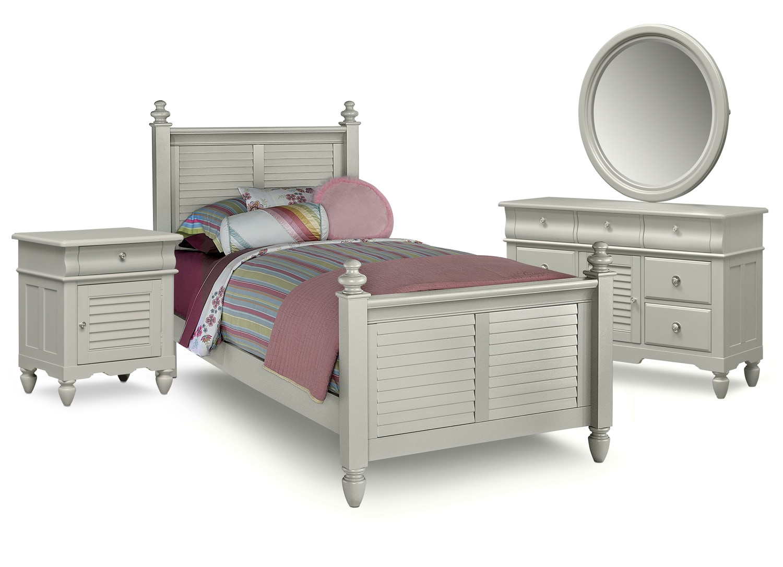 Kids Furniture - Seaside 6-Piece Full Bedroom Set - Gray