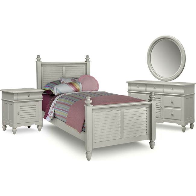 Kids Furniture - Seaside 6-Piece Twin Bedroom Set - Gray