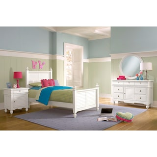Seaside 6-Piece Full Bedroom Set - White