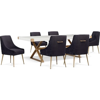 TOV Art Deco Dining Table and 6 Upholstered Side Chairs - Black
