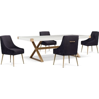 TOV Art Deco Dining Table and 4 Upholstered Side Chairs - Black