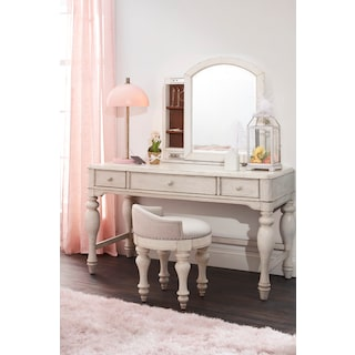 Florence Vanity Desk with Mirror and Stool
