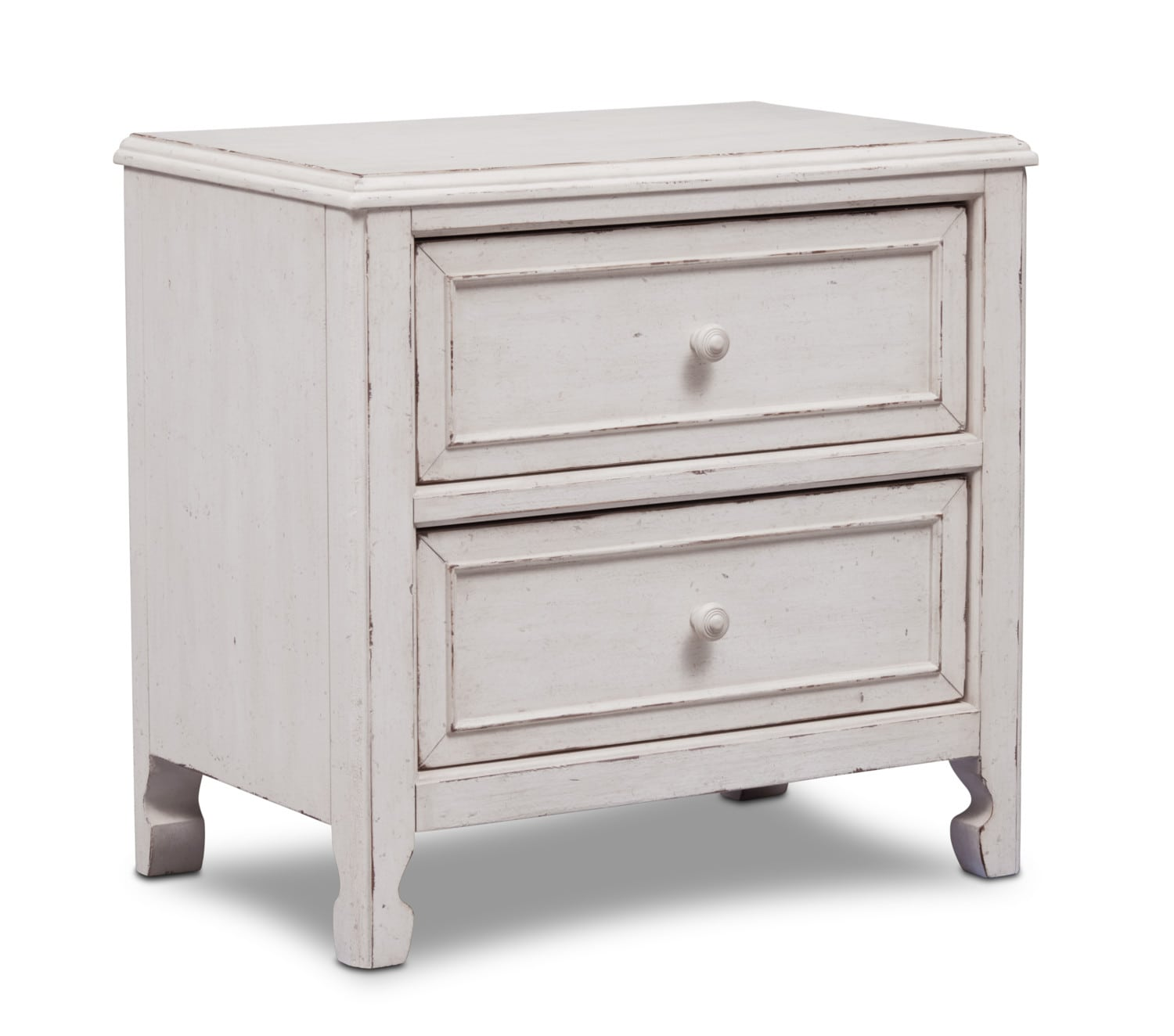 Bedroom Furniture - Florence 2-Drawer Nighstand - Antique Linen
