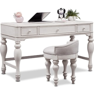 Florence Vanity Desk and Stool - Antique Linen