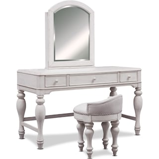 Florence Vanity Desk with Mirror and Stool - Antique Linen