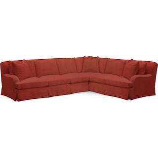 Campbell Comfort 2-Piece Large Sectional with Left-Facing Sofa - Modern Velvet Cayenne