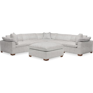 Plush 5 Piece Sectional and Ottoman - Everton Gray