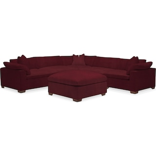 Plush 5 Piece Sectional and Ottoman - Modern Velvet Wine
