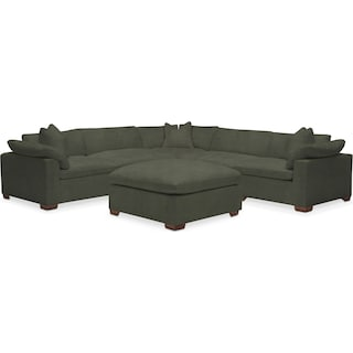 Plush 5 Piece Sectional and Ottoman - Toscana Olive