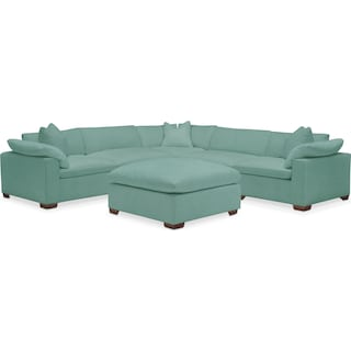 Plush 5 Piece Sectional and Ottoman - Toscana Spa