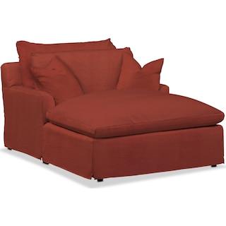 Plush Chaise - Modern Velvet Cayenne