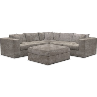 Collin Comfort 5-Piece Sectional and Ottoman - Hearth Cement
