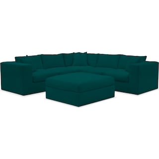 Collin Comfort 5 Piece Sectional and Ottoman - Toscana Peacock