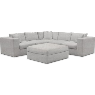 Collin Cumulus 5 Piece Sectional and Ottoman - Everton Gray