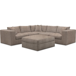 Collin Cumulus 5 Piece Sectional and Ottoman - Goliath Putty