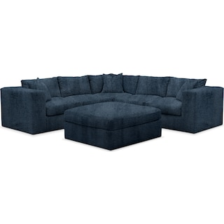 Collin Cumulus 5 Piece Sectional and Ottoman - Living Large Indigo