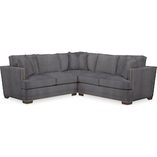 Arden Comfort 2 Piece Sectional with Right-Facing Loveseat - Living Large Charcoal