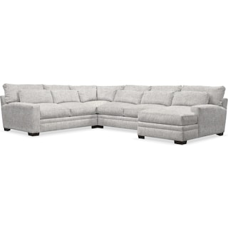 Winston Comfort 4 Piece Sectional with Right-Facing Chaise - Everton Gray