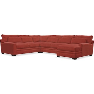 Winston Comfort 4-Piece Sectional with Right-Facing Chaise - Modern Velvet Cayenne