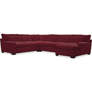 Winston Comfort 4-Piece Sectional with Right-Facing Chaise - Modern Velvet Wine
