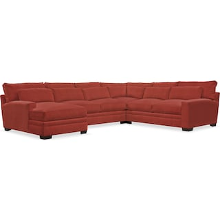 Winston Comfort 4-Piece Sectional with Left-Facing Chaise - Modern Velvet Cayenne