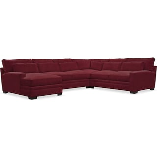 Winston Comfort 4 Piece Sectional with Left-Facing Chaise - Modern Velvet Wine