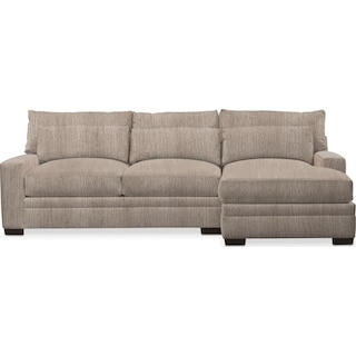 Winston Comfort 2 Piece Sectional with Right-Facing Chaise - Goliath Putty