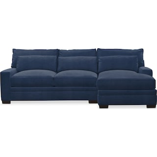 Winston Comfort 2 Piece Sectional with Right-Facing Chaise - Toscana Navy