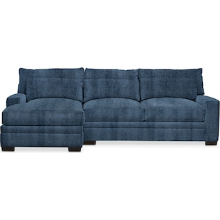 Winston Comfort 2 Piece Sectional with Left-Facing Chaise - Living Large Indigo