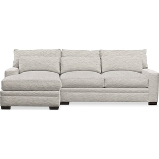 Winston Comfort 2 Piece Sectional with Left-Facing Chaise - Living Large White
