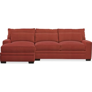 Winston Comfort 2 Piece Sectional with Left-Facing Chaise - Modern Velvet Cayenne
