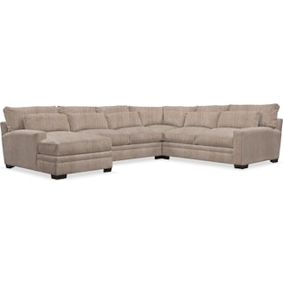 Winston Cumulus 4 Piece Sectional with Left-Facing Chaise - Goliath Putty