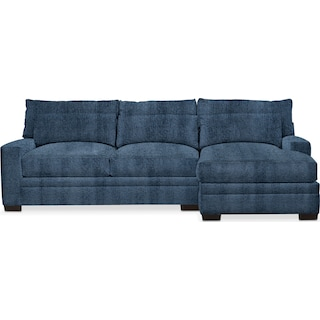 Winston Cumulus 2 Piece Sectional with Right-Facing Chaise - Living Large Indigo
