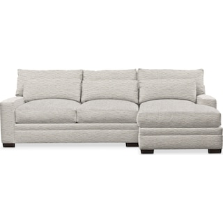 Winston Cumulus 2 Piece Sectional with Right-Facing Chaise - Living Large White
