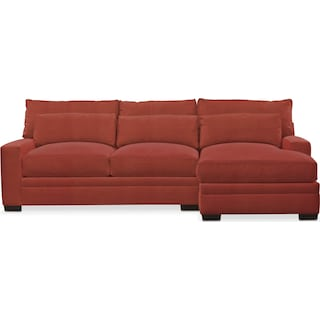 Winston Cumulus 2 Piece Sectional with Right-Facing Chaise - Modern Velvet Cayenne