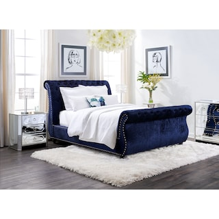 Ella Queen Upholstered Bed - Midnight
