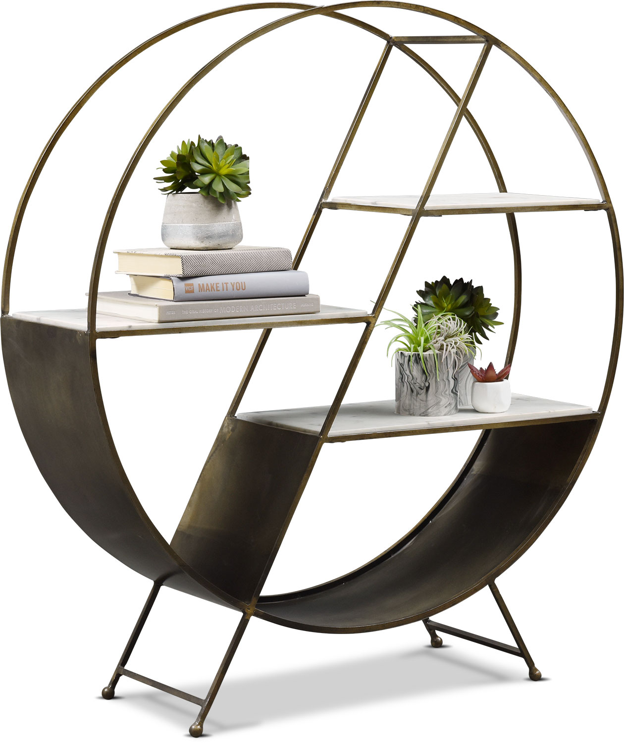 Home Office Furniture - Owen Bookcase - Iron/Marble