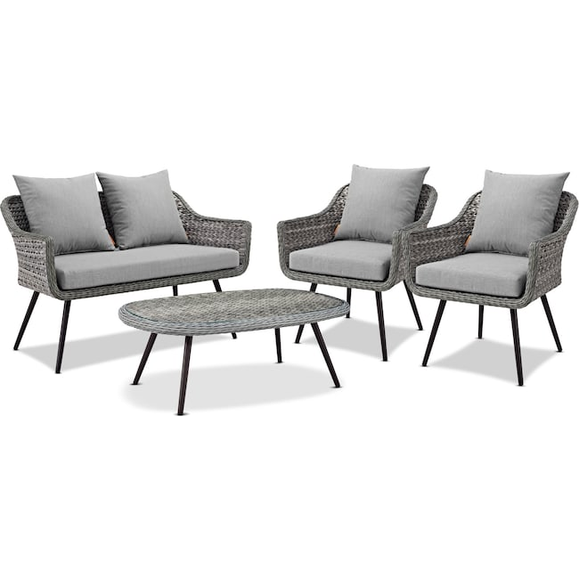 Outdoor Furniture - Palm Outdoor Loveseat, 2 Armchairs, and Coffee Table Set - Gray