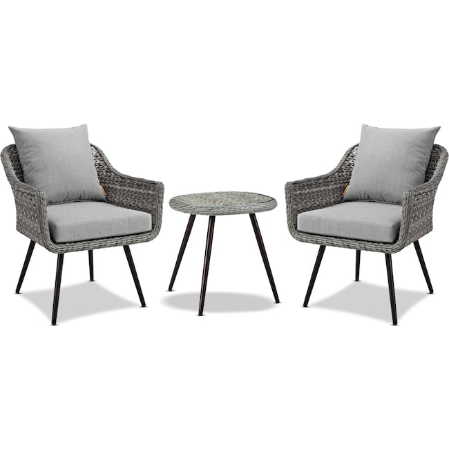 Outdoor Furniture - Palm 2 Outdoor Chairs and End Table Set - Gray