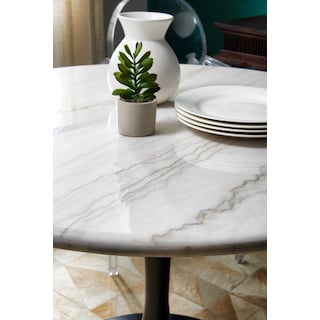 Lillian Dining Table and 4 Upholstered Side Chairs - Light Gray