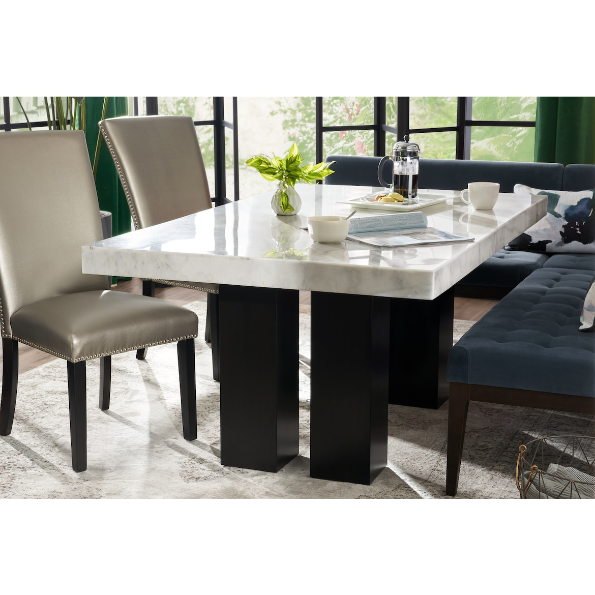 Dining Table With Banquette: Artemis Dining Table, Corner Banquette, And 2 Upholstered