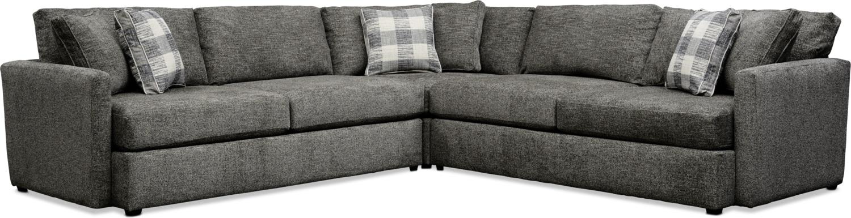 Living Room Furniture - Garrett 3-Piece Sectional - Gray