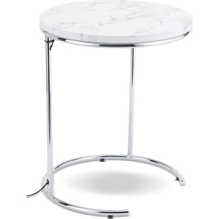 Gilroy Wireless Charging Side Table - White