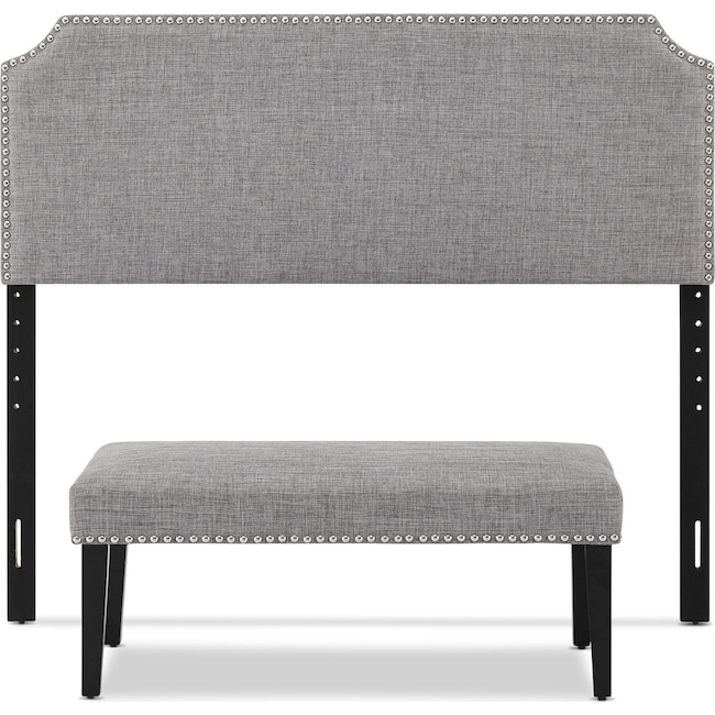 Bedroom Furniture - Piper Queen Upholstered Headboard and Bench Set - Gray