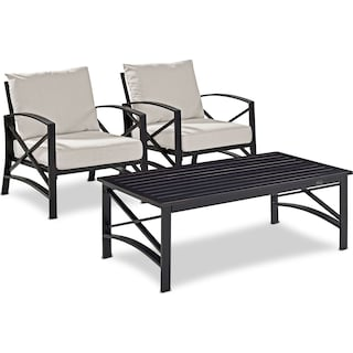 Clarion Set of 2 Outdoor Chairs and Coffee Table - Oatmeal