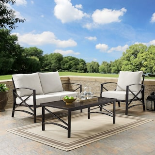 Clarion Outdoor Loveseat, Chair, and Coffee Table Set - Oatmeal