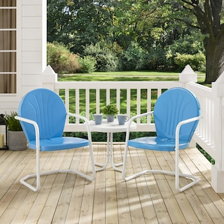 Kona Set of 2 Outdoor Chairs and Side Table - Blue