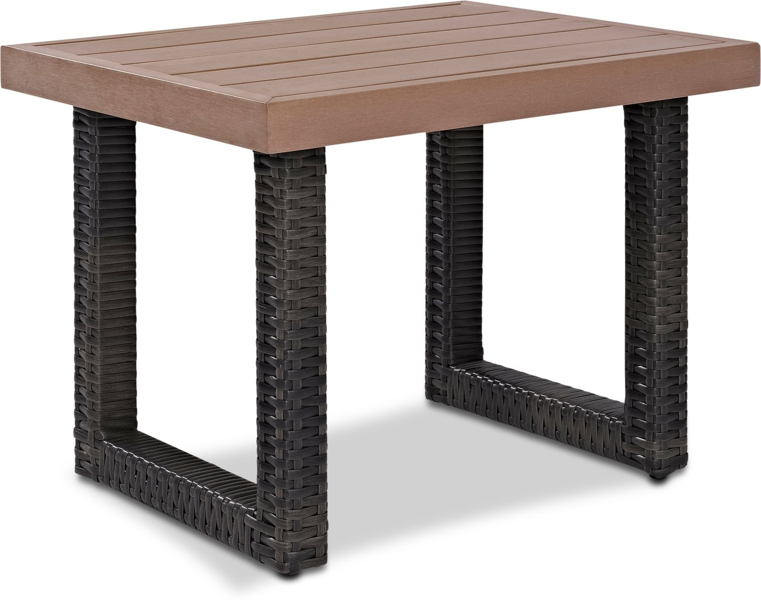 Outdoor Furniture - Tethys Outdoor End Table - Brown