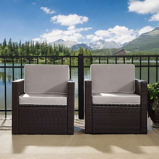 Aldo Set of 2 Outdoor Chairs and End Table Set - Gray