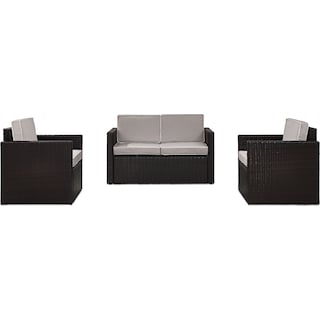 Aldo Outdoor Loveseat and 2 Chairs Set - Gray